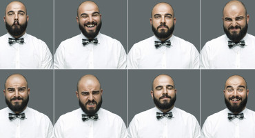 man makes different facial expressions