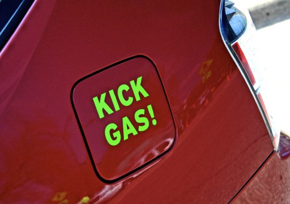 kick gas! sticker on prius