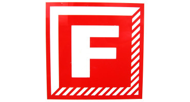 letter F in red on white