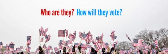 crowd waves American flags