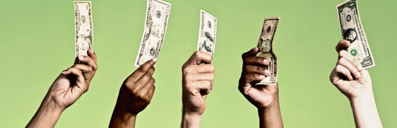 five hands hold up money