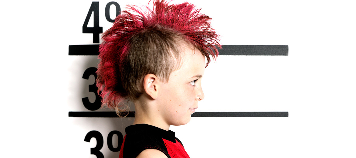 boy with red crest in hair