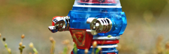 red and blue toy robot