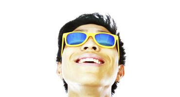 man wearing yellow sunglasses