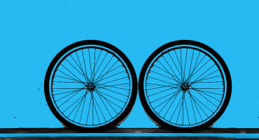 photo-illustration of bike wheels