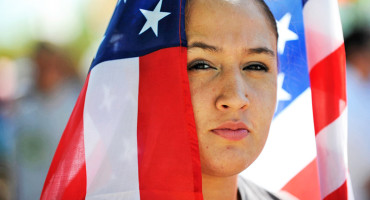 woman with US flag