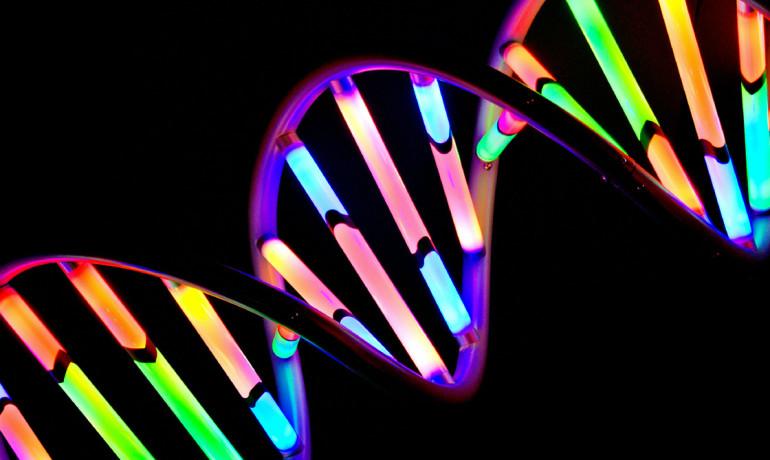 glowing DNA helix