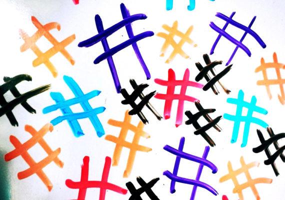 hashtags on whiteboard