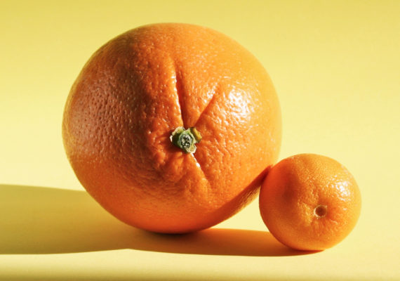 large and small oranges