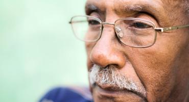 older man staring