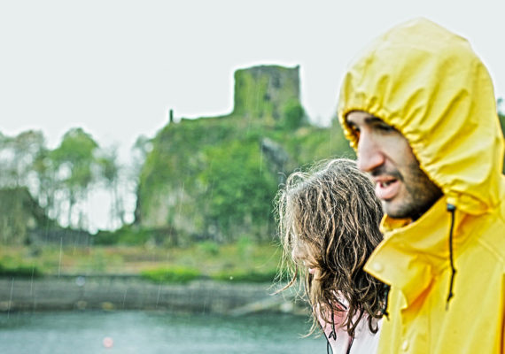 couple in the rain in Scotland