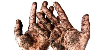 soil on hands
