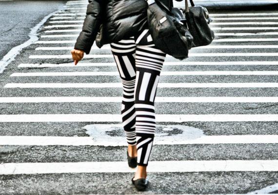woman in a crosswalk