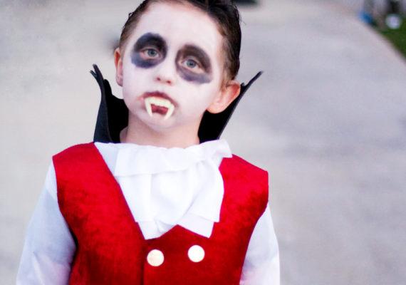 child in a Dracula costume