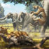 aber-tooth cats (Smilodon) fight with adult Colombian mammoths