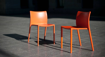 two orange chairs