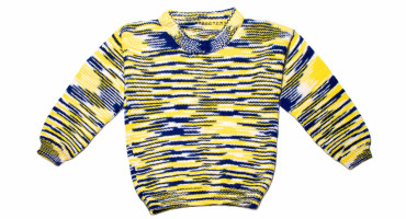 blue and yellow stripes on sweater