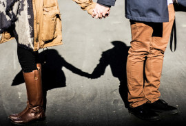couple pulling apart