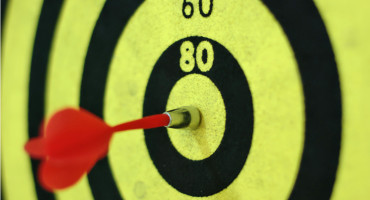 dart in neon yellow board
