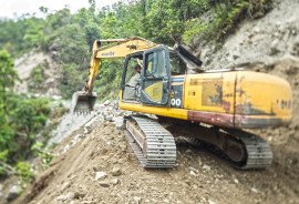Road being cleared in Sindhupalchok, district after earthquake.