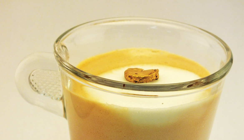 gold foam on cappuccino