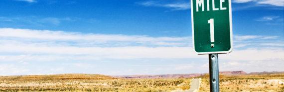 1 mile sign in desert