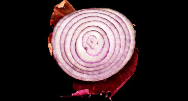 half a red onion on black