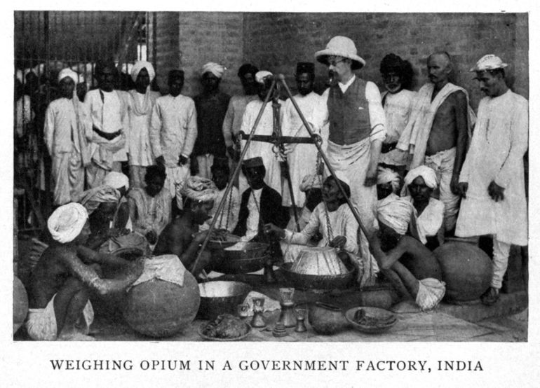 weighing opium in India
