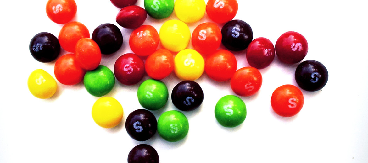 skittles candy on white