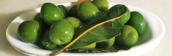 Spanish olives in dish