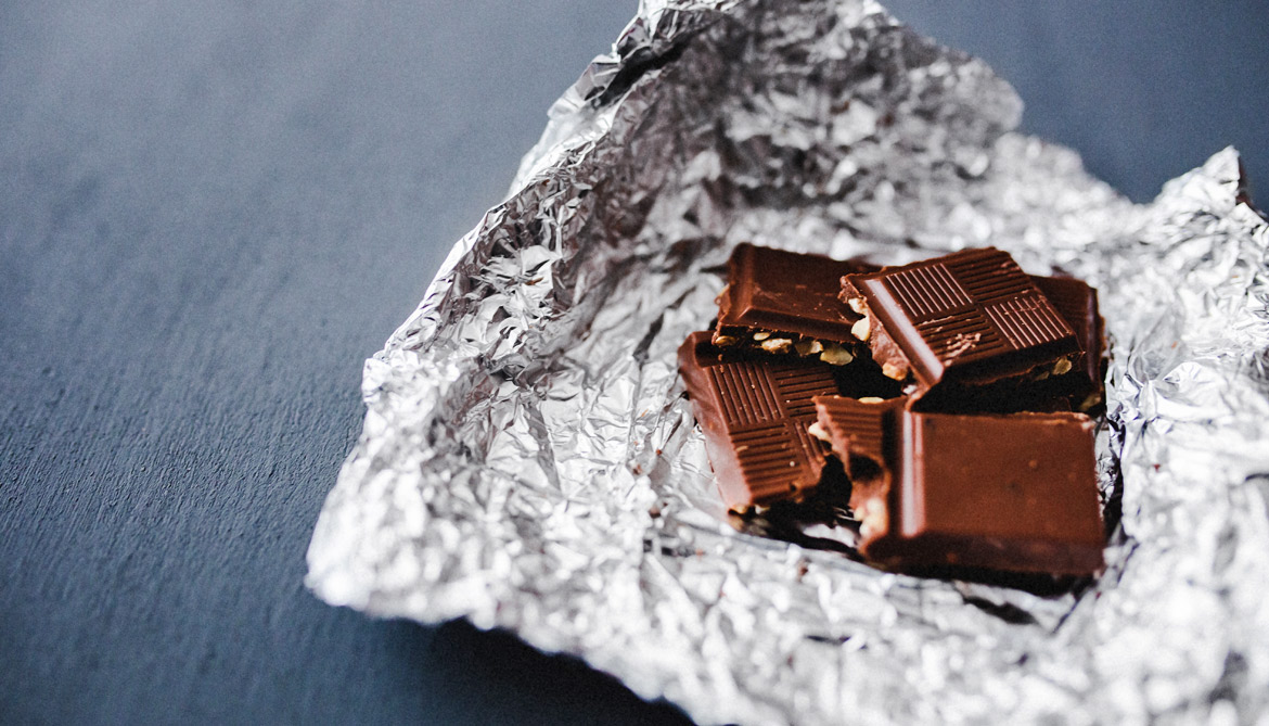chocolate in tin foil