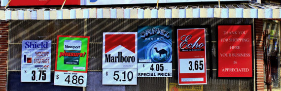 signs for cigarettes outside store