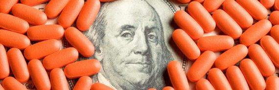 pills on $100 bill