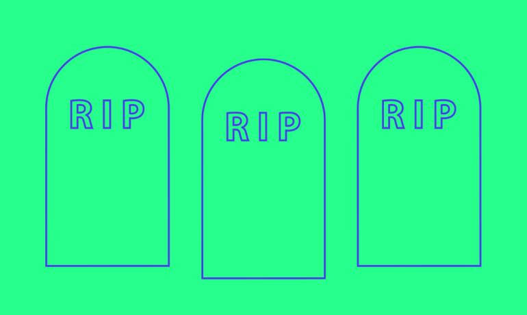 cell death gravestones on green