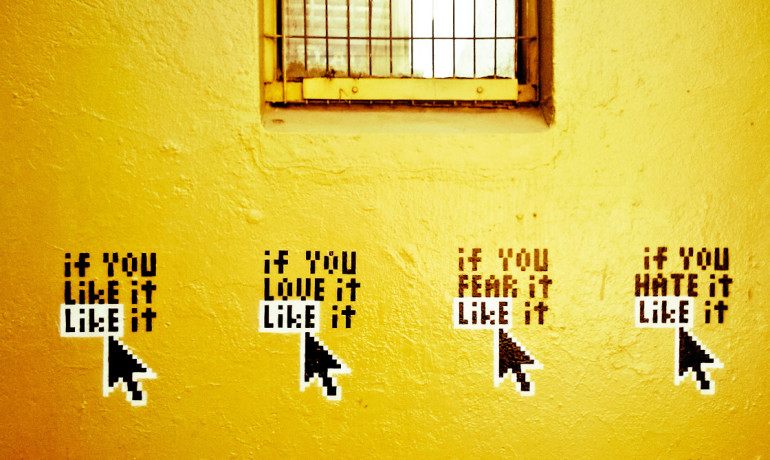 yellow wall with facebook message