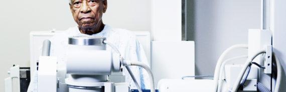 elderly man and x-ray machine