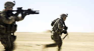 two soldiers running