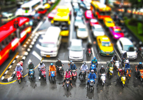 city traffic with tilt shift effect