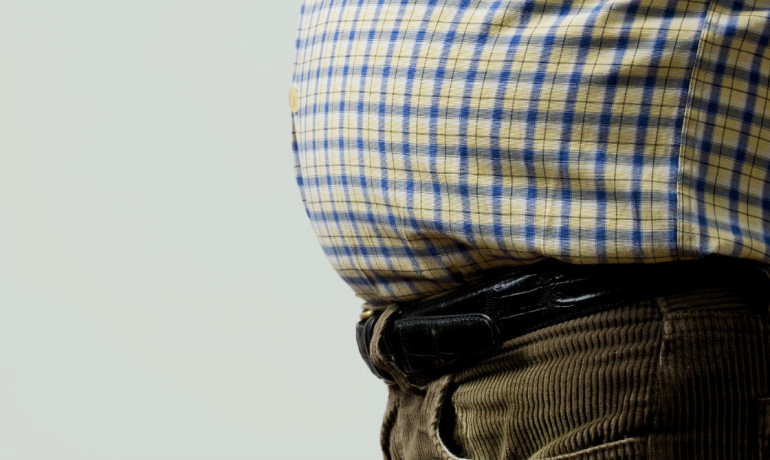 man's large belly