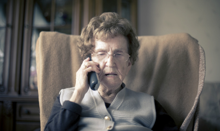 older woman talking on the phone
