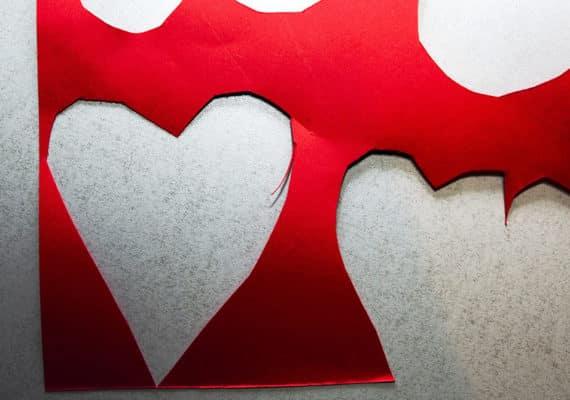paper heart cutouts