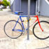 red blue bicycle