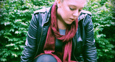 teen girl in scarf & jacket