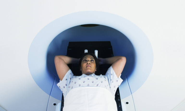 woman gets a PET scan