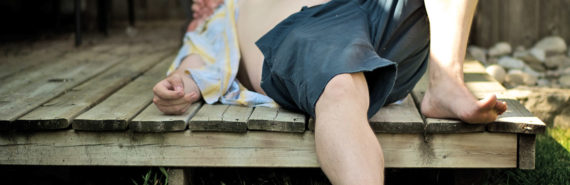 man rests during a heat wave