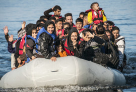Syrian refugees in a boat