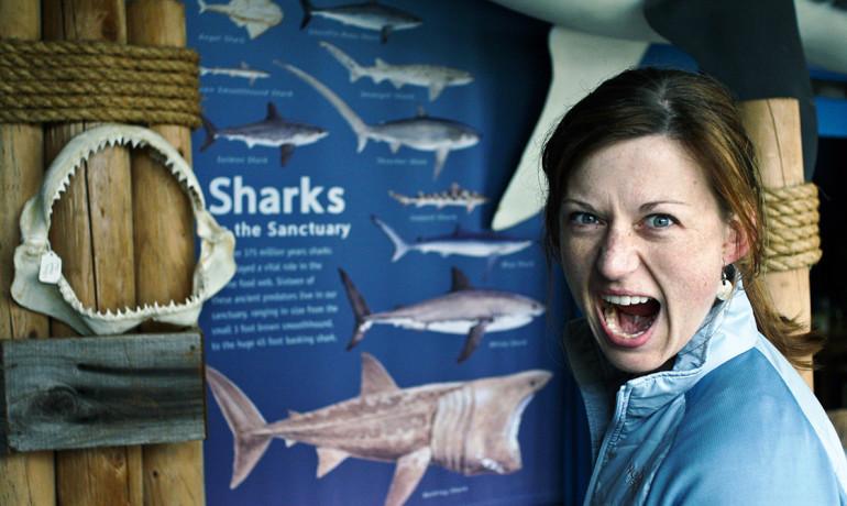 woman and shark teeth