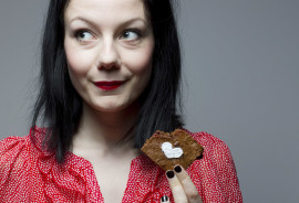woman eating a brownie