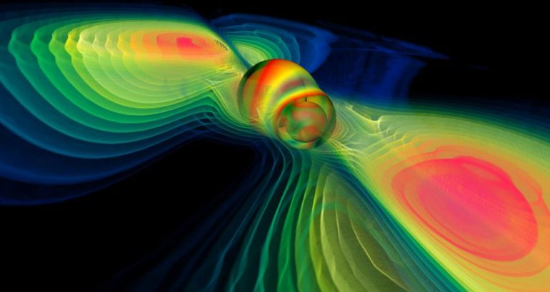 simulation of two merging black holes