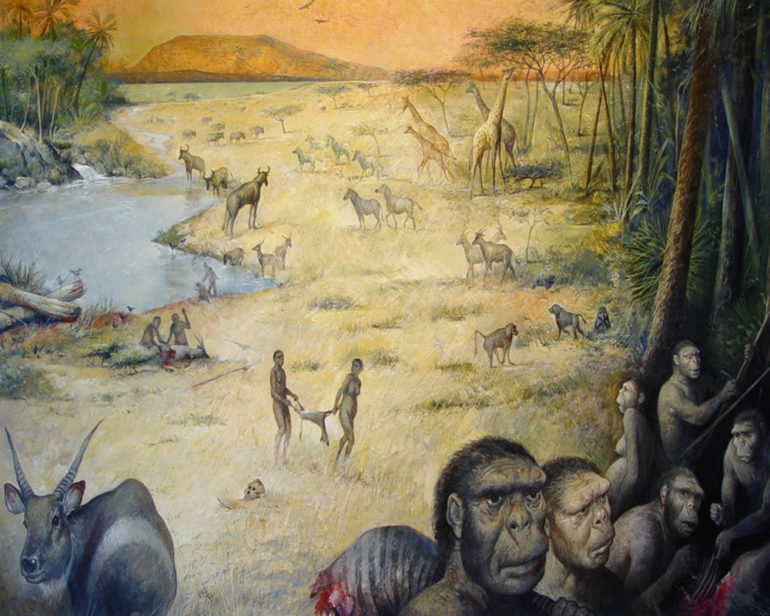 An artist's rendition of an early human habitat in East Africa 1.8 million years ago